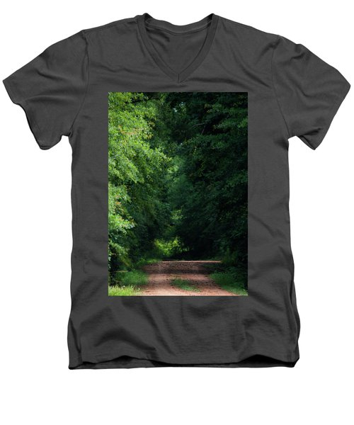 Men's V-Neck T-Shirt featuring the photograph Spring Path Of Light by Shelby Young