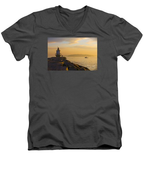 Spring Point Lighthouse At Dawn. Men's V-Neck T-Shirt by Diane Diederich