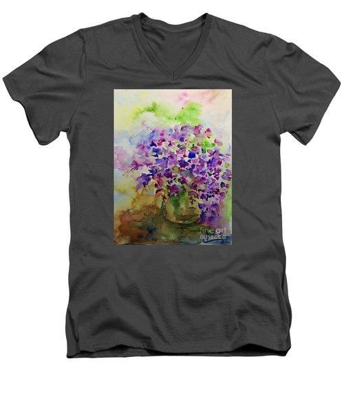Spring Purple Flowers Watercolor Men's V-Neck T-Shirt by AmaS Art