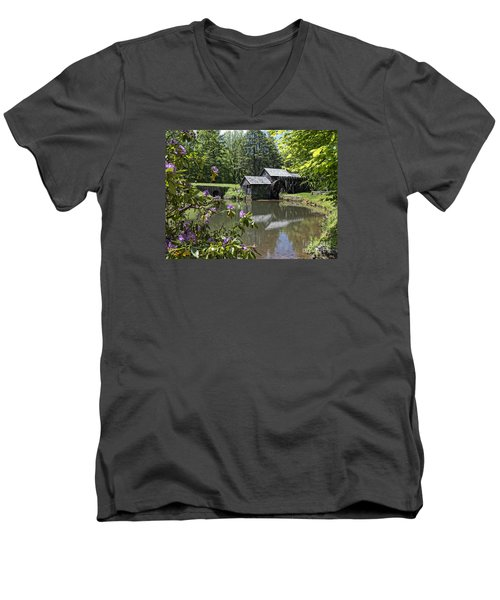 Spring Reflections Of An Ancient Mill Men's V-Neck T-Shirt