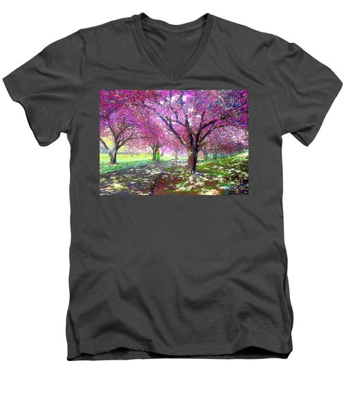 Spring Rhapsody, Happiness And Cherry Blossom Trees Men's V-Neck T-Shirt