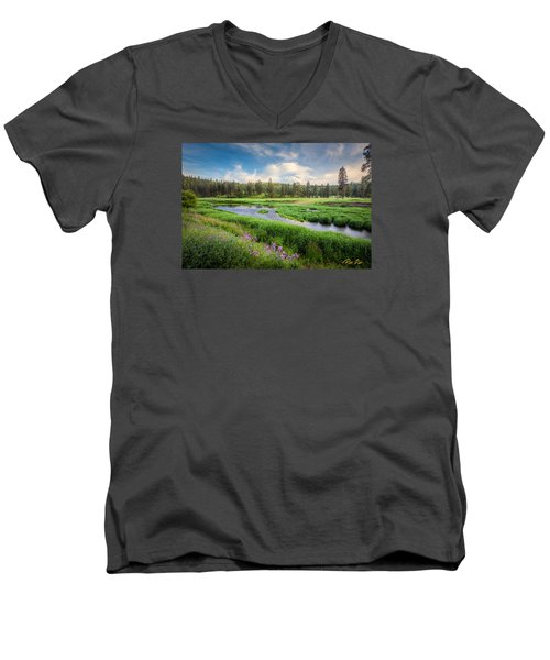 Men's V-Neck T-Shirt featuring the photograph Spring River Valley by Rikk Flohr