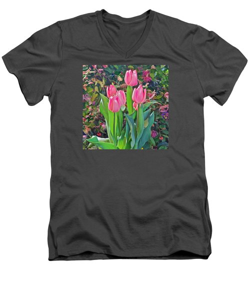 Spring Show 14 Pink Tulips  Men's V-Neck T-Shirt by Janis Nussbaum Senungetuk