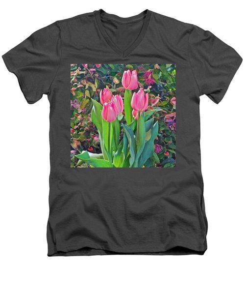 Spring Show 14 Pink Tulips  Men's V-Neck T-Shirt