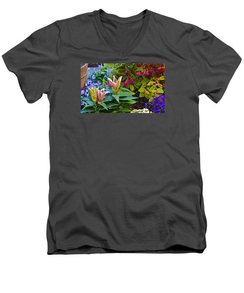 Spring Show 15 Lilies Men's V-Neck T-Shirt by Janis Nussbaum  Senungetuk