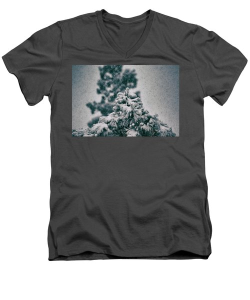 Spring Snowstorm On The Treetops Men's V-Neck T-Shirt