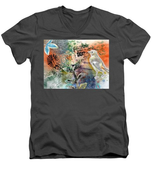 Men's V-Neck T-Shirt featuring the mixed media Spring Song by Rose Legge