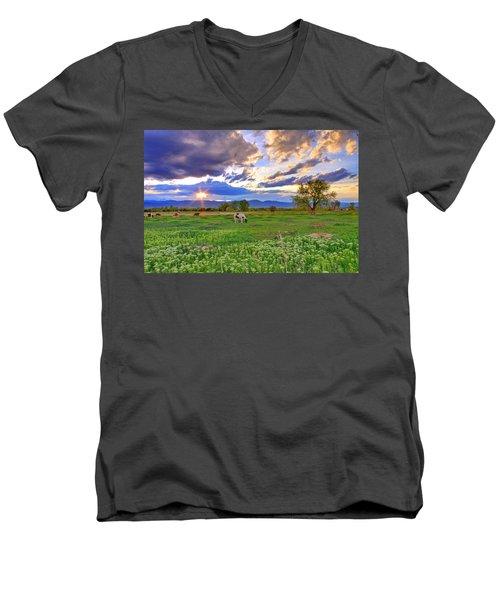 Spring Sunset Over The Rockies Men's V-Neck T-Shirt by Scott Mahon
