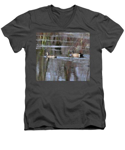 Spring Teal Men's V-Neck T-Shirt