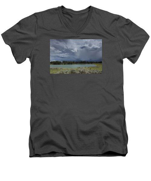 Spring Thunderstorm At Yellowstone Men's V-Neck T-Shirt