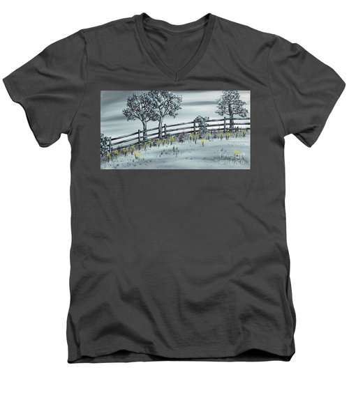 Men's V-Neck T-Shirt featuring the painting Spring Time by Kenneth Clarke