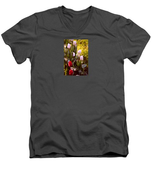 Men's V-Neck T-Shirt featuring the photograph Spring Time Tulips by Susanne Van Hulst