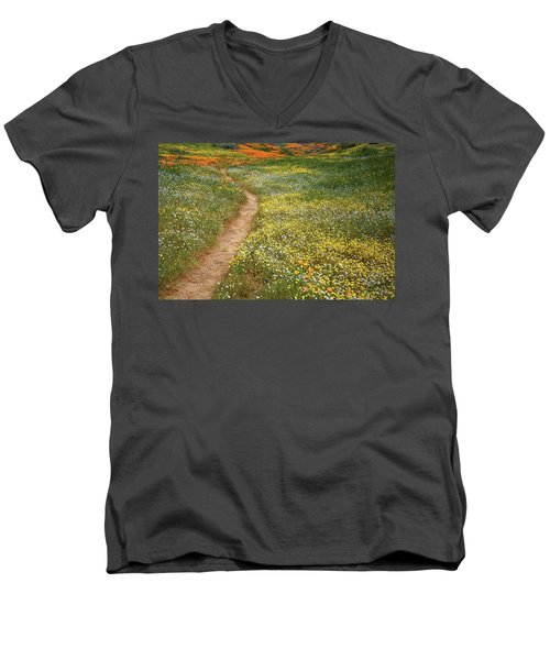Men's V-Neck T-Shirt featuring the photograph Spring Trail Through A Sea Of Wildflowers At Diamond Lake In California by Jetson Nguyen