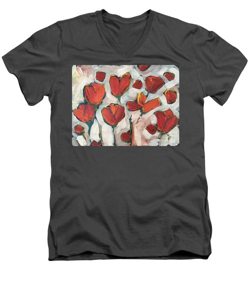 Spring Tulip Garden Men's V-Neck T-Shirt
