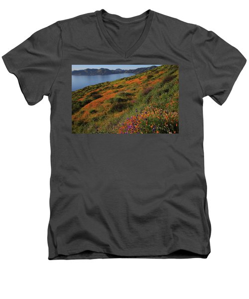 Spring Wildflower Season At Diamond Lake In California Men's V-Neck T-Shirt by Jetson Nguyen