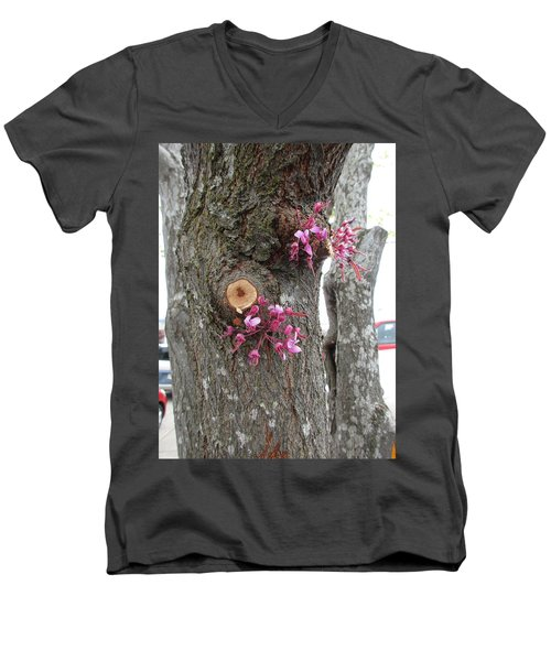 Men's V-Neck T-Shirt featuring the photograph Spring Will Not Be Denied by Marie Neder