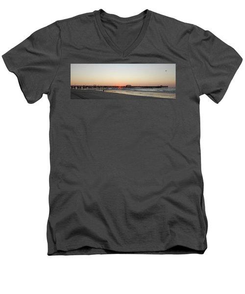 Springmaid Pier Sunrise Men's V-Neck T-Shirt by Gordon Mooneyhan