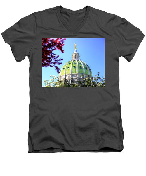 Men's V-Neck T-Shirt featuring the photograph Spring's Arrival At The Pennsylvania Capitol by Shelley Neff