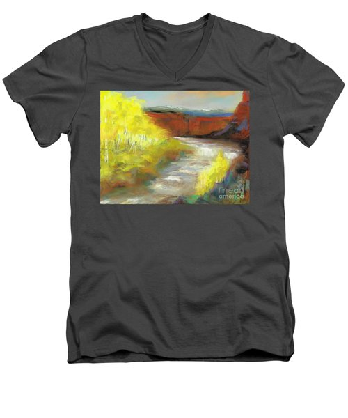 Men's V-Neck T-Shirt featuring the painting Springtime In The Rockies by Frances Marino