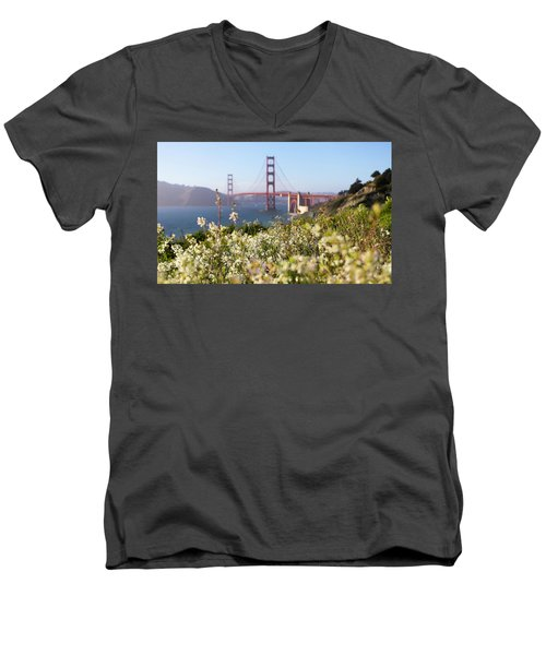 Men's V-Neck T-Shirt featuring the photograph Springtime On The Bay by Everet Regal