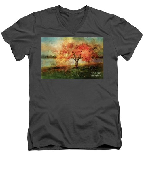 Men's V-Neck T-Shirt featuring the digital art Sprinkled With Spring by Lois Bryan