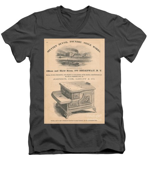 Men's V-Neck T-Shirt featuring the photograph Spuyten Duyvil Stoveworks  by Cole Thompson