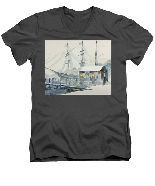 Men's V-Neck T-Shirt featuring the painting Square Rigger by Stan Tenney
