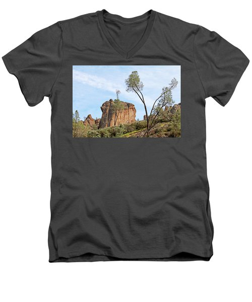 Men's V-Neck T-Shirt featuring the photograph Square Rock Formation by Art Block Collections