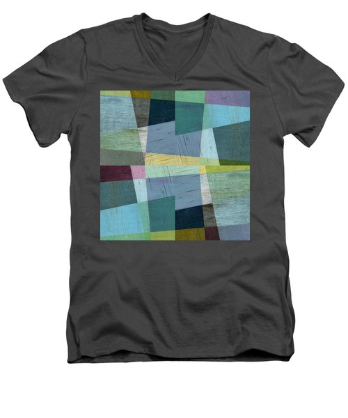 Men's V-Neck T-Shirt featuring the digital art Squares And Shims by Michelle Calkins