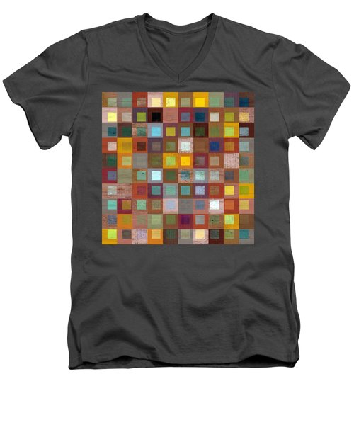 Men's V-Neck T-Shirt featuring the digital art Squares In Squares Four by Michelle Calkins