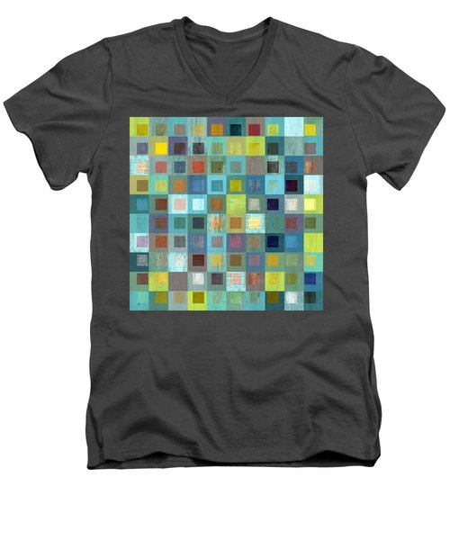 Men's V-Neck T-Shirt featuring the digital art Squares In Squares Two by Michelle Calkins