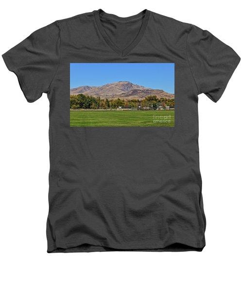 Squaw Butte From Gem Island Sport Complex Men's V-Neck T-Shirt