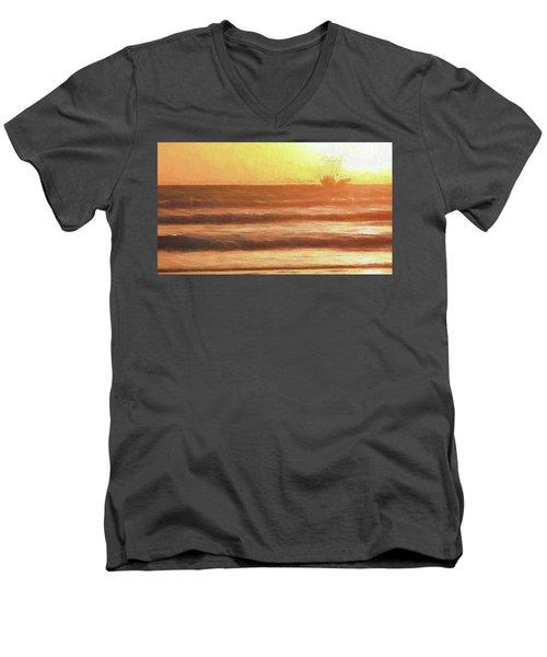 Squid Boat Sunset Men's V-Neck T-Shirt