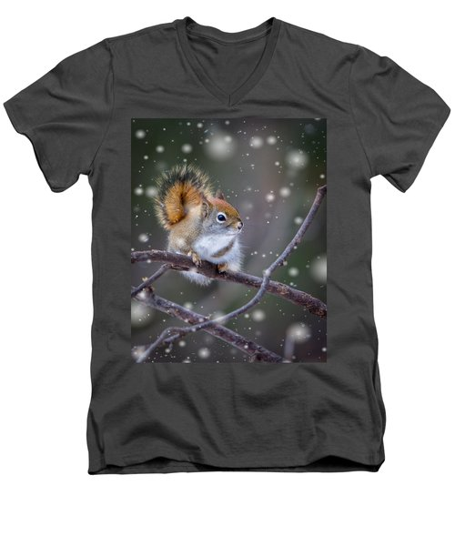 Men's V-Neck T-Shirt featuring the photograph Squirrel Balancing Act by Patti Deters