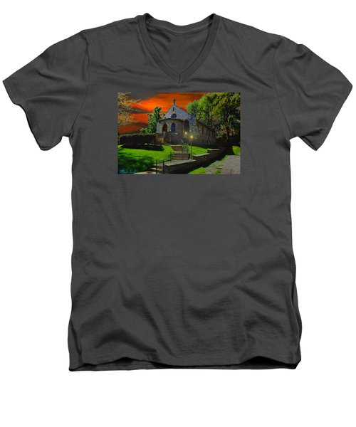 Men's V-Neck T-Shirt featuring the photograph St. Anne's Chapel by Michael Rucker