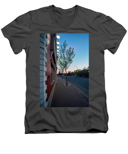 Men's V-Neck T-Shirt featuring the photograph St. Anne Street At Dusk by Darcy Michaelchuk