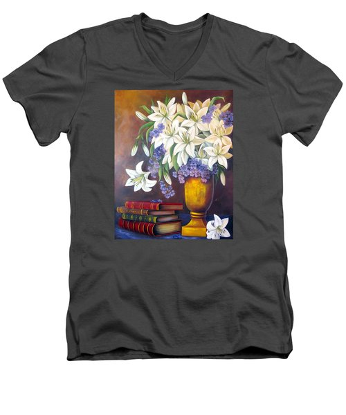 St. Anthony's Lilies Men's V-Neck T-Shirt by Katia Aho