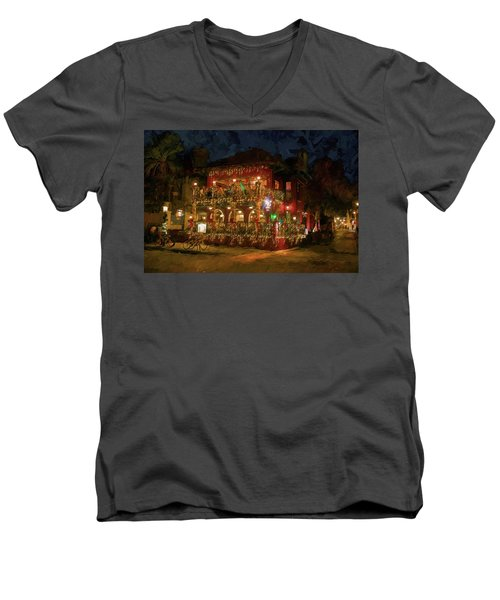 Men's V-Neck T-Shirt featuring the photograph  St. Augustine Meehan's Pub by Louis Ferreira