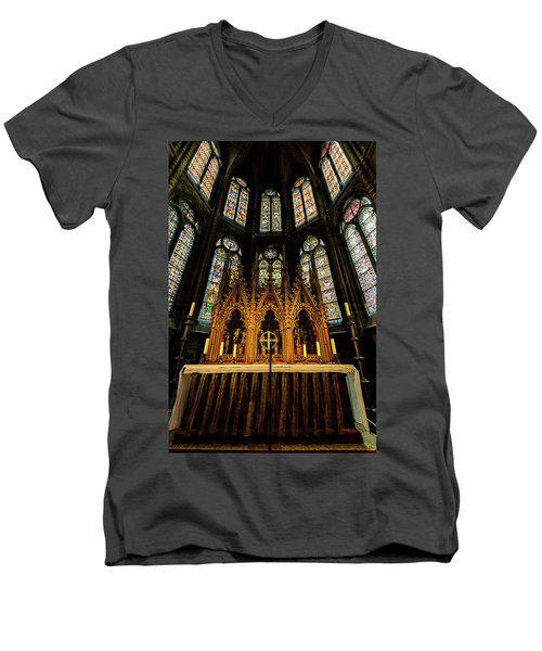 Men's V-Neck T-Shirt featuring the photograph St. Elizabeth Church by David Morefield