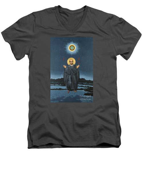 St. Ignatius In Prayer Beneath The Stars 137 Men's V-Neck T-Shirt by William Hart McNichols