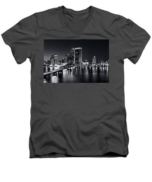 St Johns River Skyline By Night, Jacksonville, Florida In Black And White Men's V-Neck T-Shirt