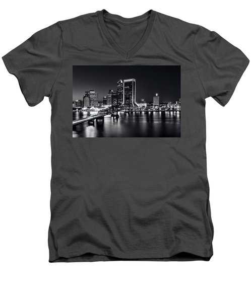 St Johns River Skyline By Night, Jacksonville, Florida In Black And White Men's V-Neck T-Shirt