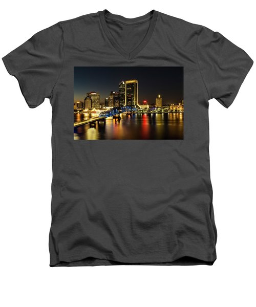 St Johns River Skyline By Night, Jacksonville, Florida Men's V-Neck T-Shirt