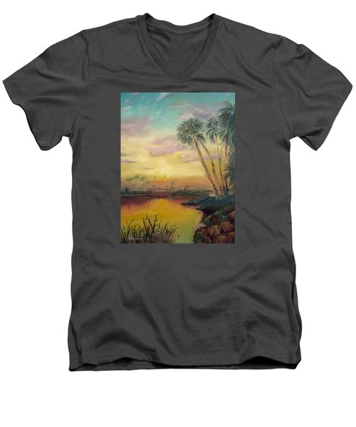 Men's V-Neck T-Shirt featuring the painting St. Johns Sunset by Dawn Harrell
