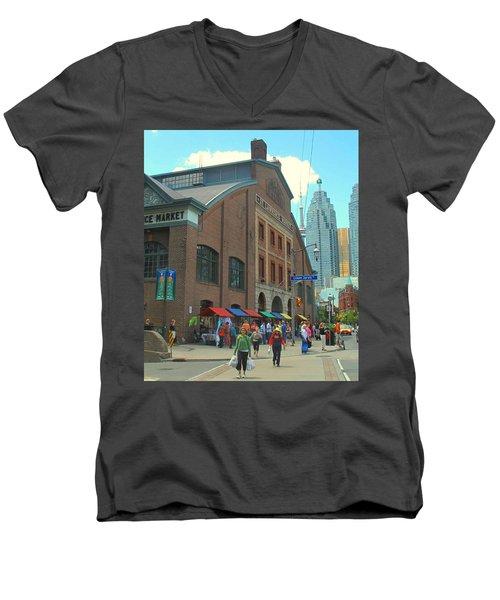 St Lawrence Market Men's V-Neck T-Shirt by Ian  MacDonald