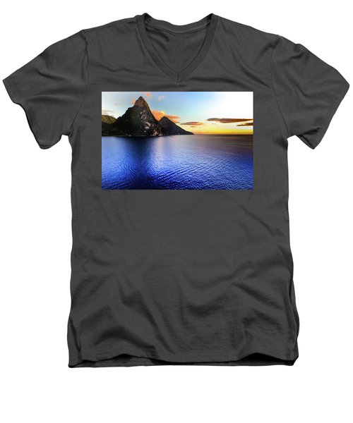 St. Lucia's Cobalt Blues Men's V-Neck T-Shirt by Karen Wiles