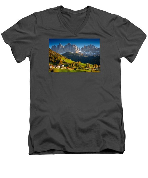 St. Magdalena Alpine Village In Autumn Men's V-Neck T-Shirt by IPics Photography