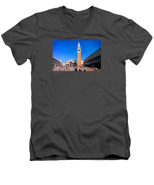 Men's V-Neck T-Shirt featuring the photograph St Mark's Square by Anne Kotan