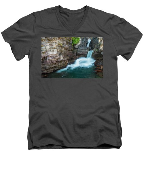 Men's V-Neck T-Shirt featuring the photograph St. Mary Falls by Gary Lengyel