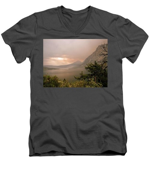 St Mary Lake In The Smoke Men's V-Neck T-Shirt